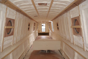 Duratherm spray foam insulation inside a boat